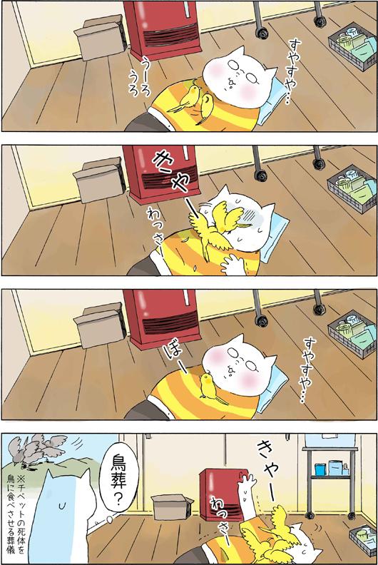 WEB漫画フリーランスかぴぐらしオカメインコちーぽの謎行動